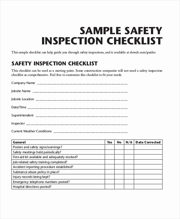 Building Inspection Checklist New Free 25 Inspection Checklist Examples & Samples In Pdf