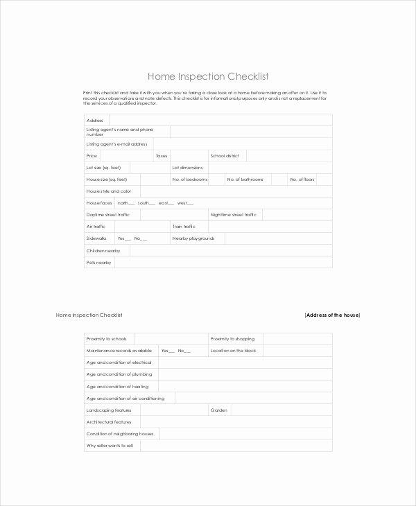 Building Inspection Checklist Pdf Elegant House Inspection Checklist 17 Pdf Word Download