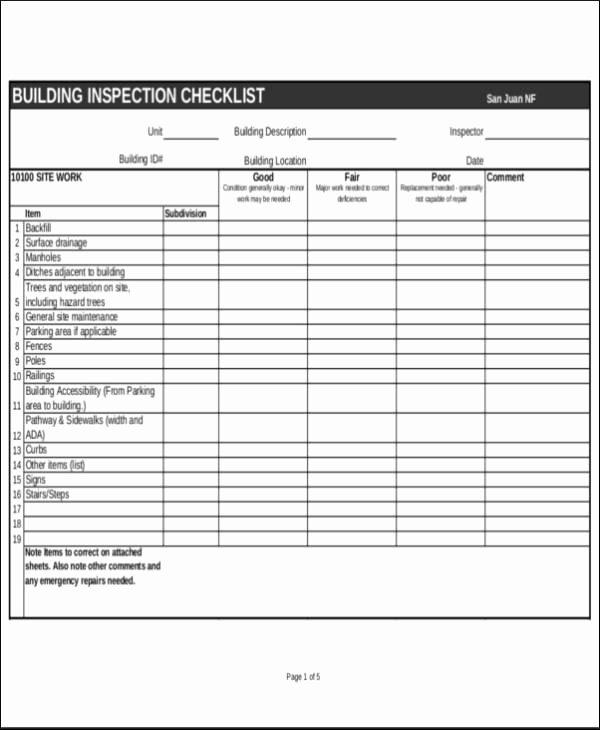 Building Maintenance Checklist Pdf Fresh Building Maintenance Inspection Checklist Template – Tutumi