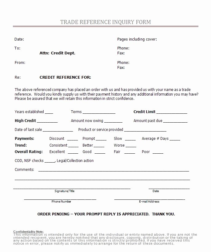 Business Credit Reference form Lovely Free Printable Credit Reference form form Generic
