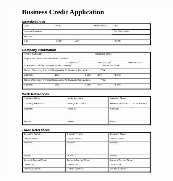 Business Credit Reference form New Credit Application Template – 13 Free Word Pdf Documents