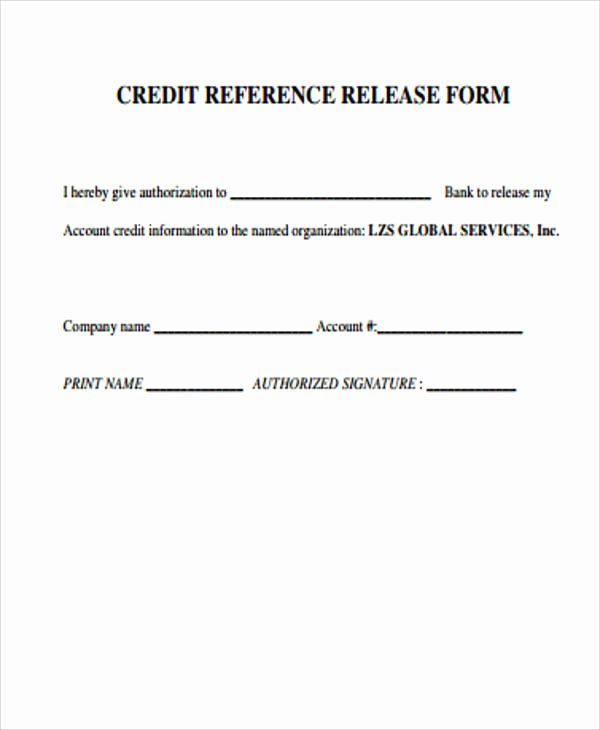 Business Credit Reference form Unique Sample Credit Release form 6 Examples In Word Pdf