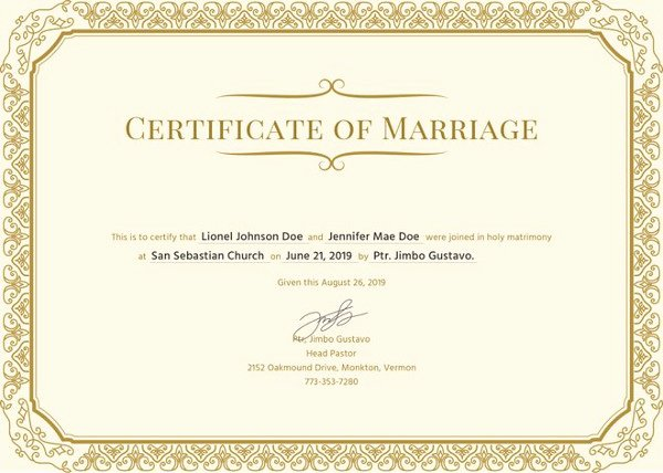 Business License Certificate Template Beautiful Marriage Certificate Template 12 Word Pdf Psd format