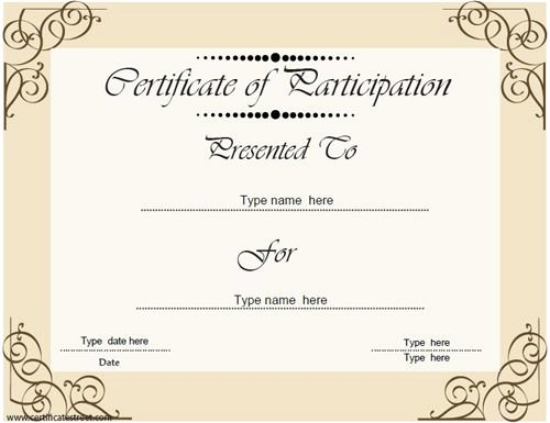 Business License Certificate Template Fresh Business Certificate Certificate Of Participation