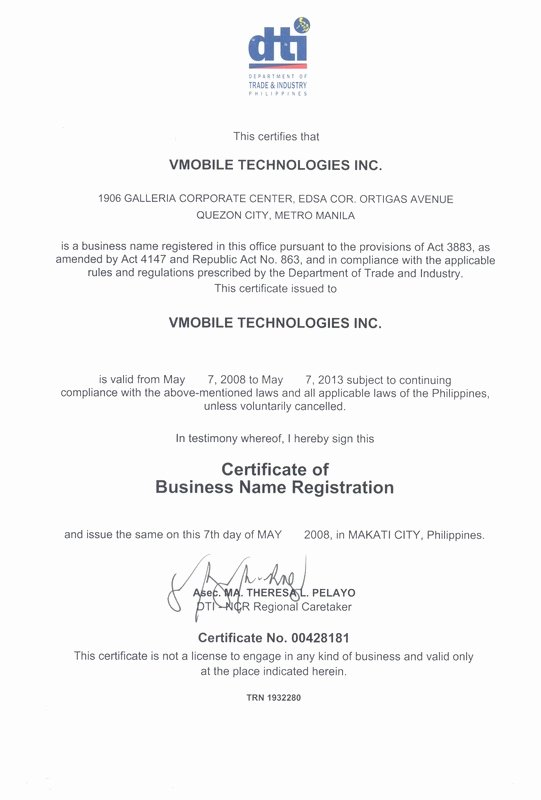 Business License Certificate Template Luxury Legal Documents Vmobile Loadxtreme Universal Prepaid
