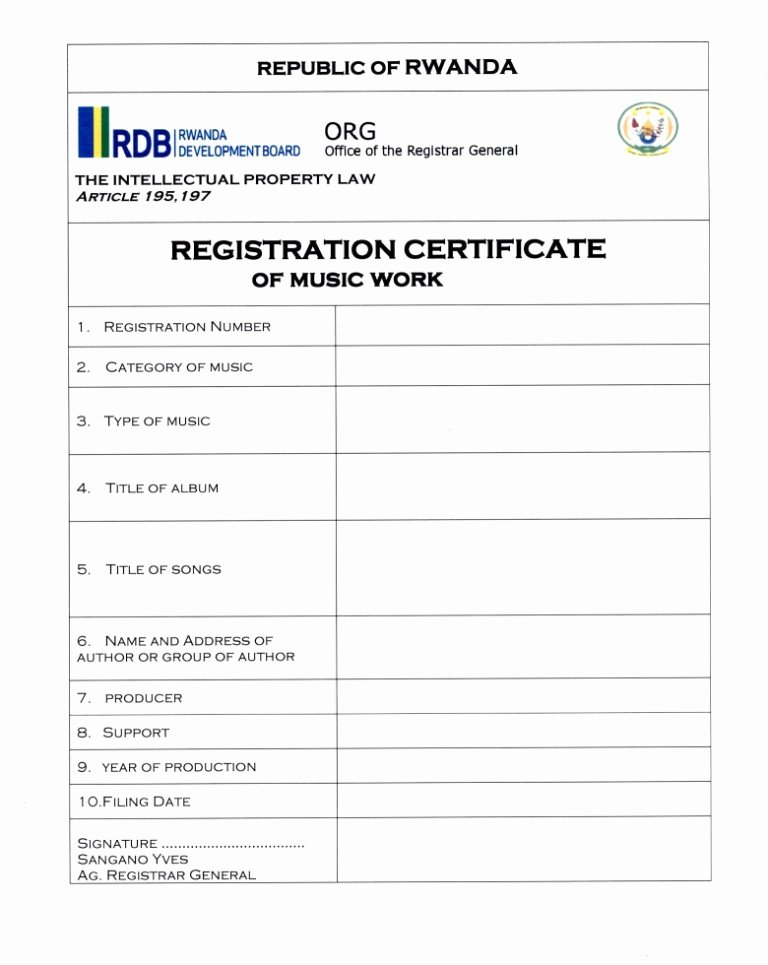 Business License Certificate Template Unique Business Procedures In Rwanda