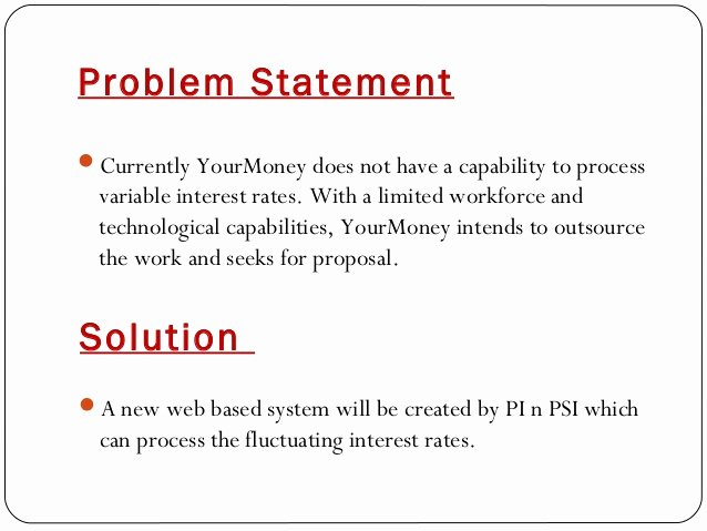 Business Problem Statement Example Elegant Business Proposal It Project
