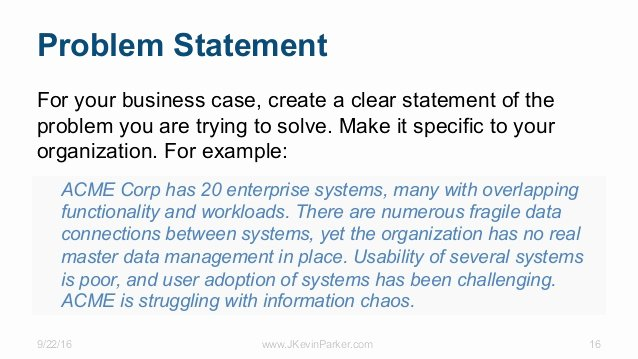 Business Problem Statement Example Elegant the Business Case for Information Strategy and Architecture