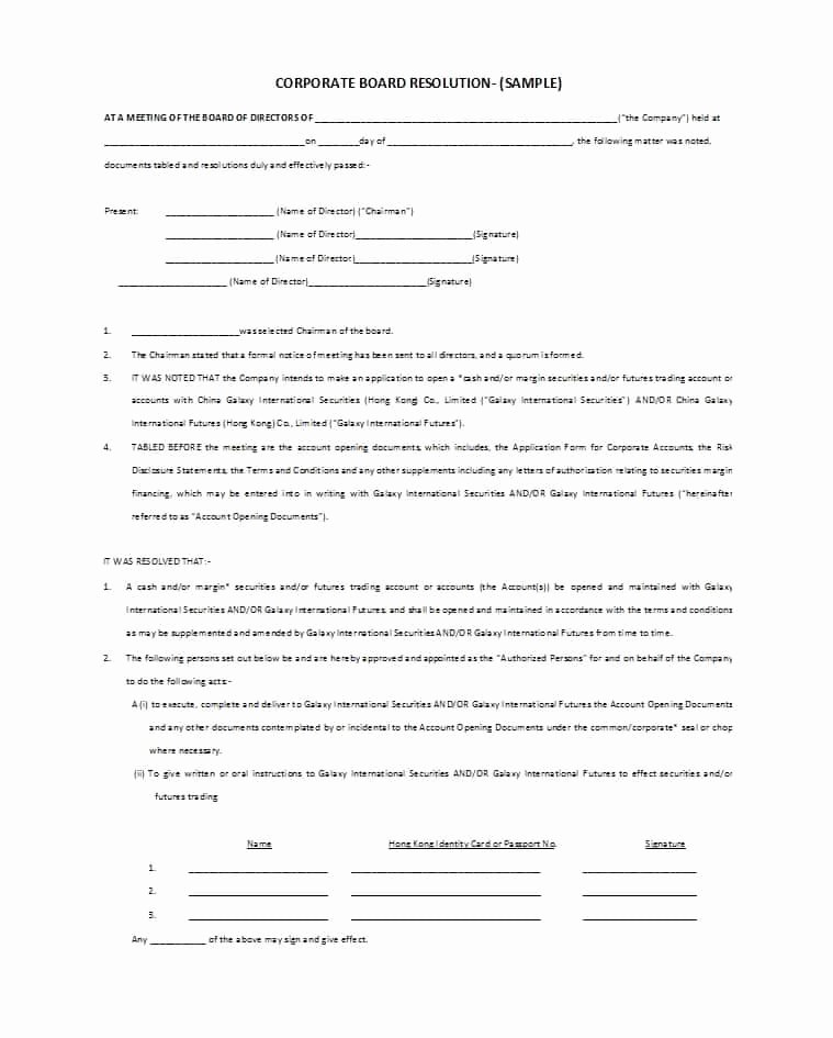 Business Resolution Sample Fresh 37 Printable Corporate Resolution forms Template Lab