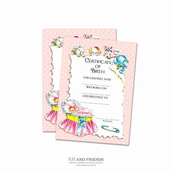 doll birth certificate template