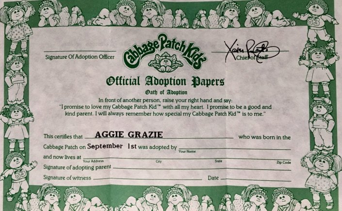 Cabbage Patch Doll Birth Certificate Template Awesome Found In the Cabbage Patch – Harlow S Monkey