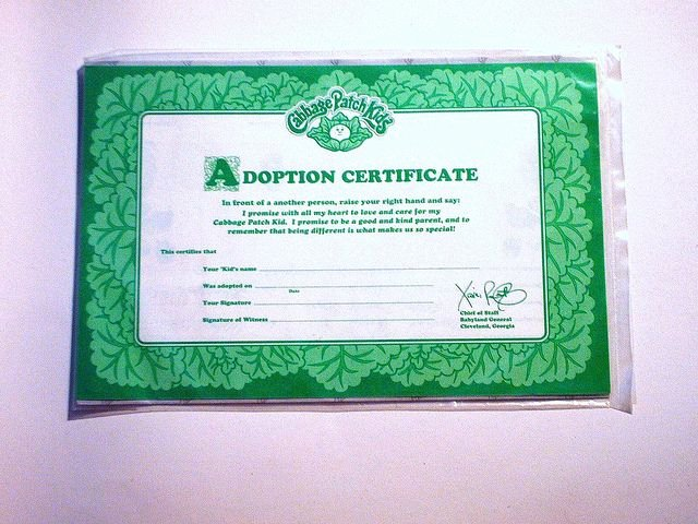 Cabbage Patch Doll Birth Certificate Template Beautiful Cabbage Patch Kids Adoption Certificate