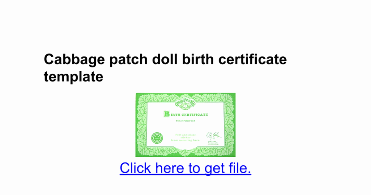 Cabbage Patch Doll Birth Certificate Template Lovely Cabbage Patch Doll Birth Certificate Template Google Docs