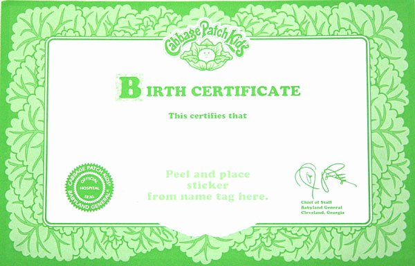 Cabbage Patch Doll Birth Certificate Template Luxury Cabbage Patch Kid Ballerina Pink Tutu 1995