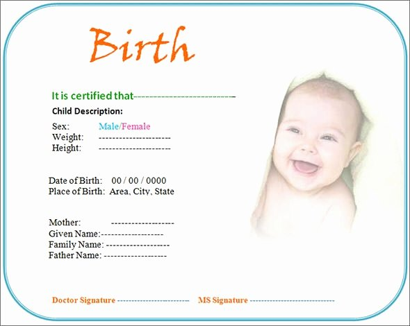 California Birth Certificate Template Elegant Free 17 Birth Certificate Templates In Illustrator