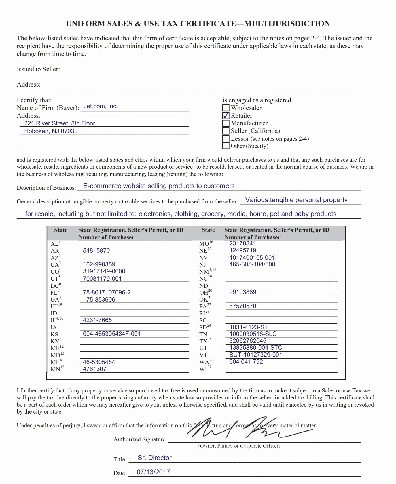 California Resale Certificate Template Beautiful 14 Special Uniform Sales and Use Tax Certificate