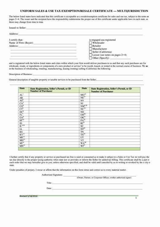 California Resale Certificate Template Elegant Fillable Uniform Sales & Use Tax Exemption Resale