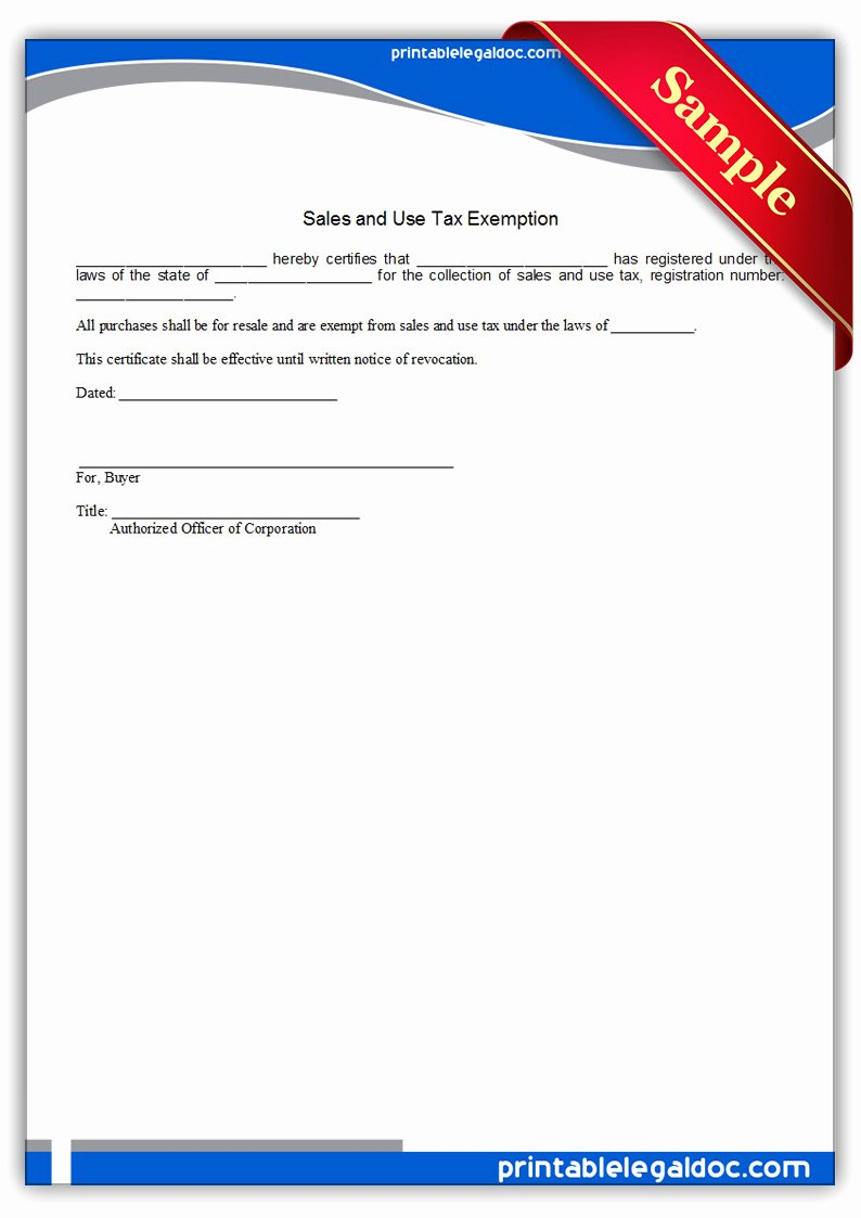 California Resale Certificate Template Elegant Free Printable Sales and Use Tax Exemption form Generic