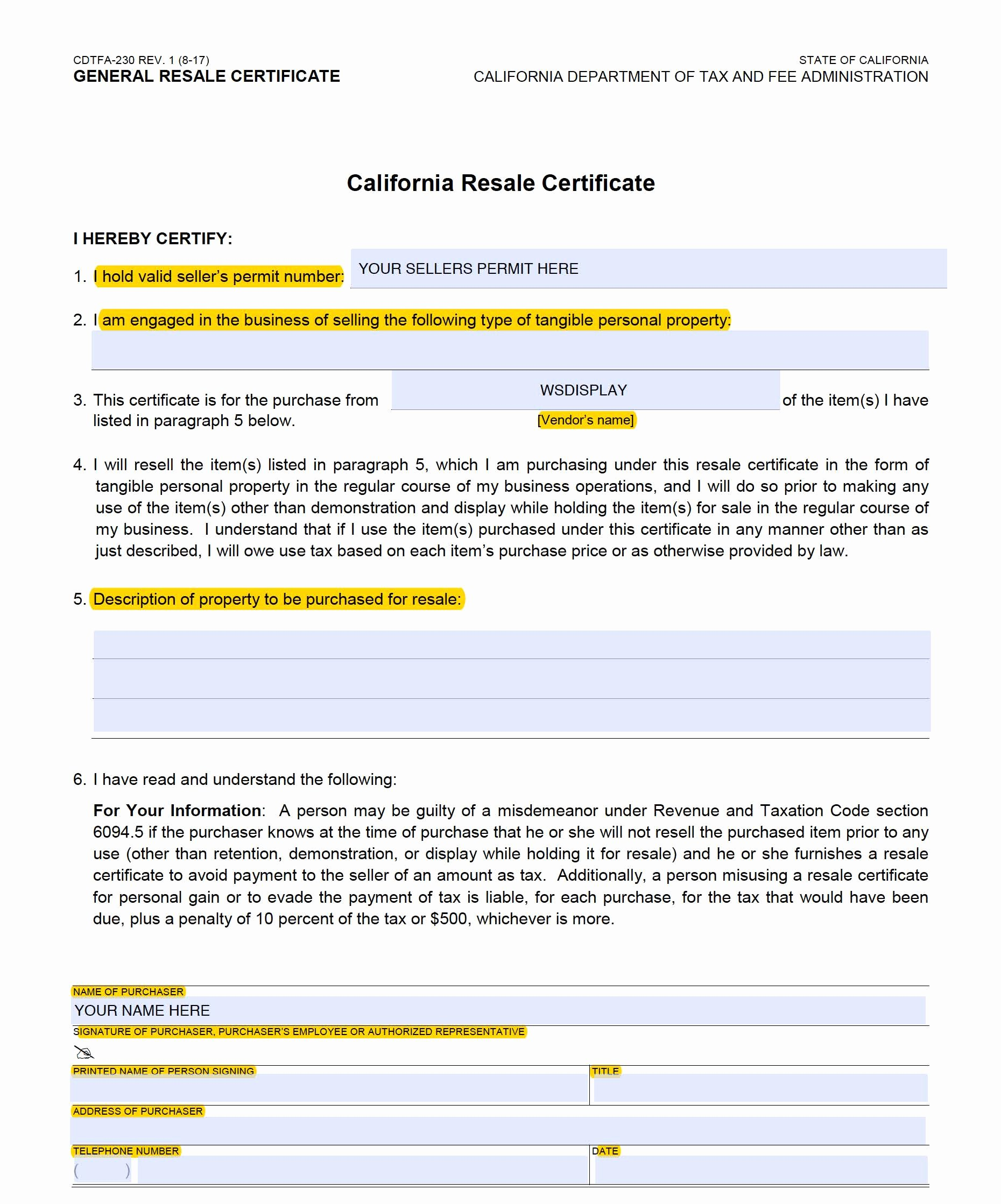 California Resale Certificate Template Fresh Tax