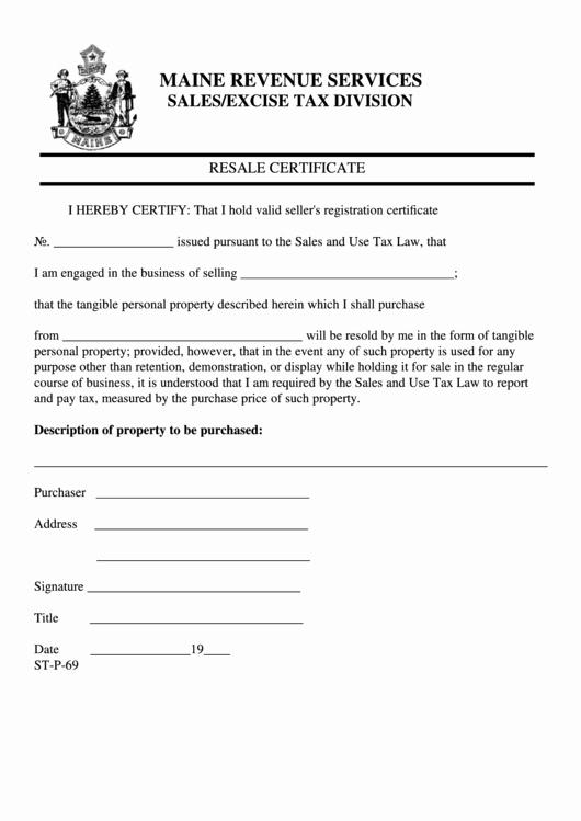 California Resale Certificate Template Luxury form St P 69 Resale Certificate Maine Revenue Services