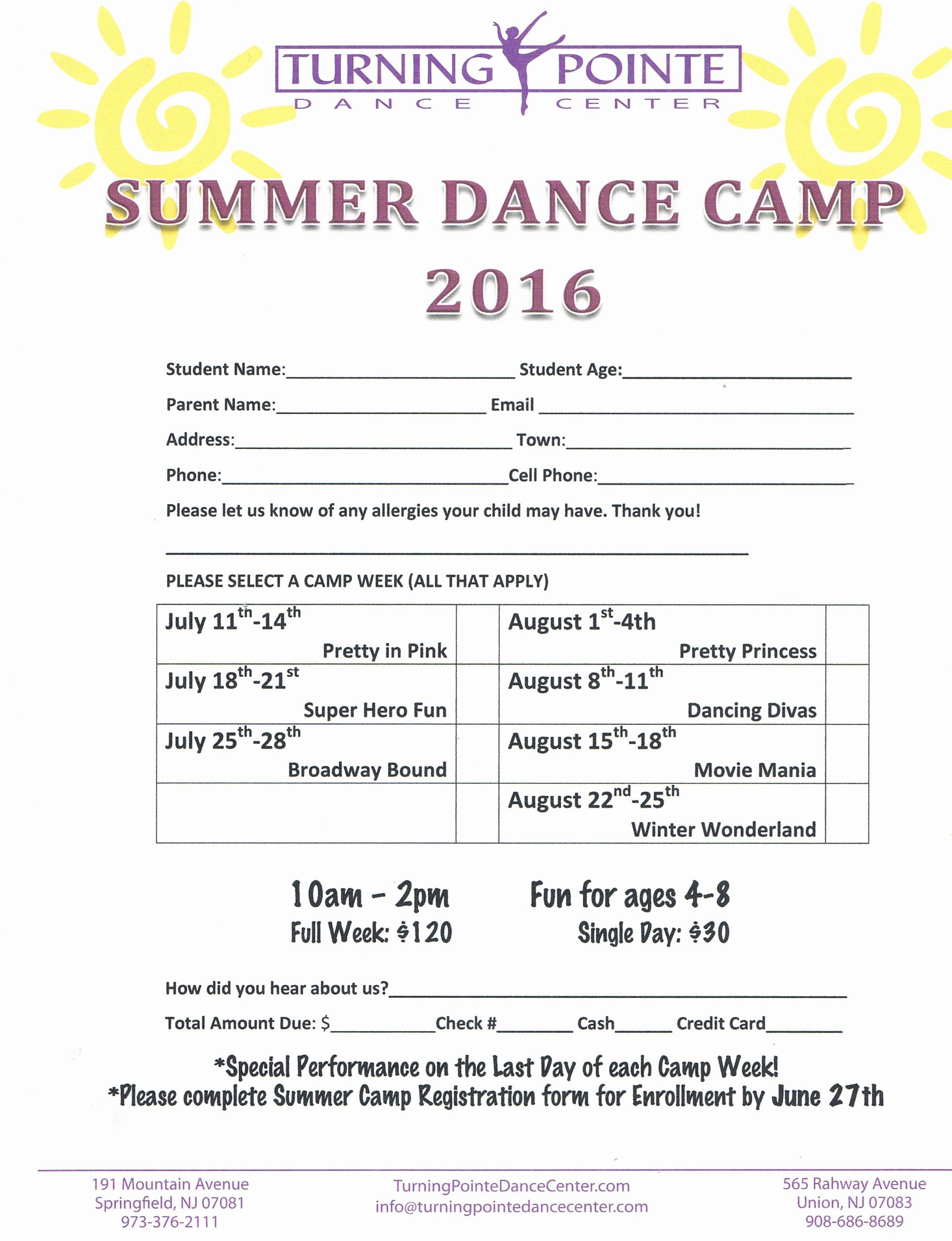 Camp Registration form Template Beautiful Summer Schedule Turning Pointe Dance Center