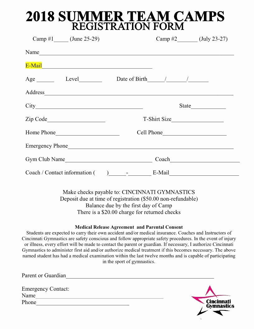 Camp Registration form Template Elegant 2018 Summer Team Camps Registration form Cincinnati