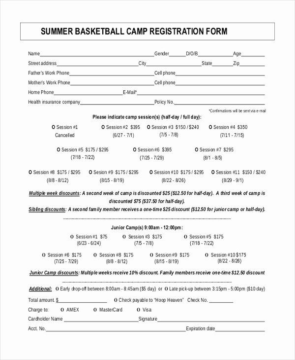 Camp Registration form Template Elegant Basketball Registration form Template