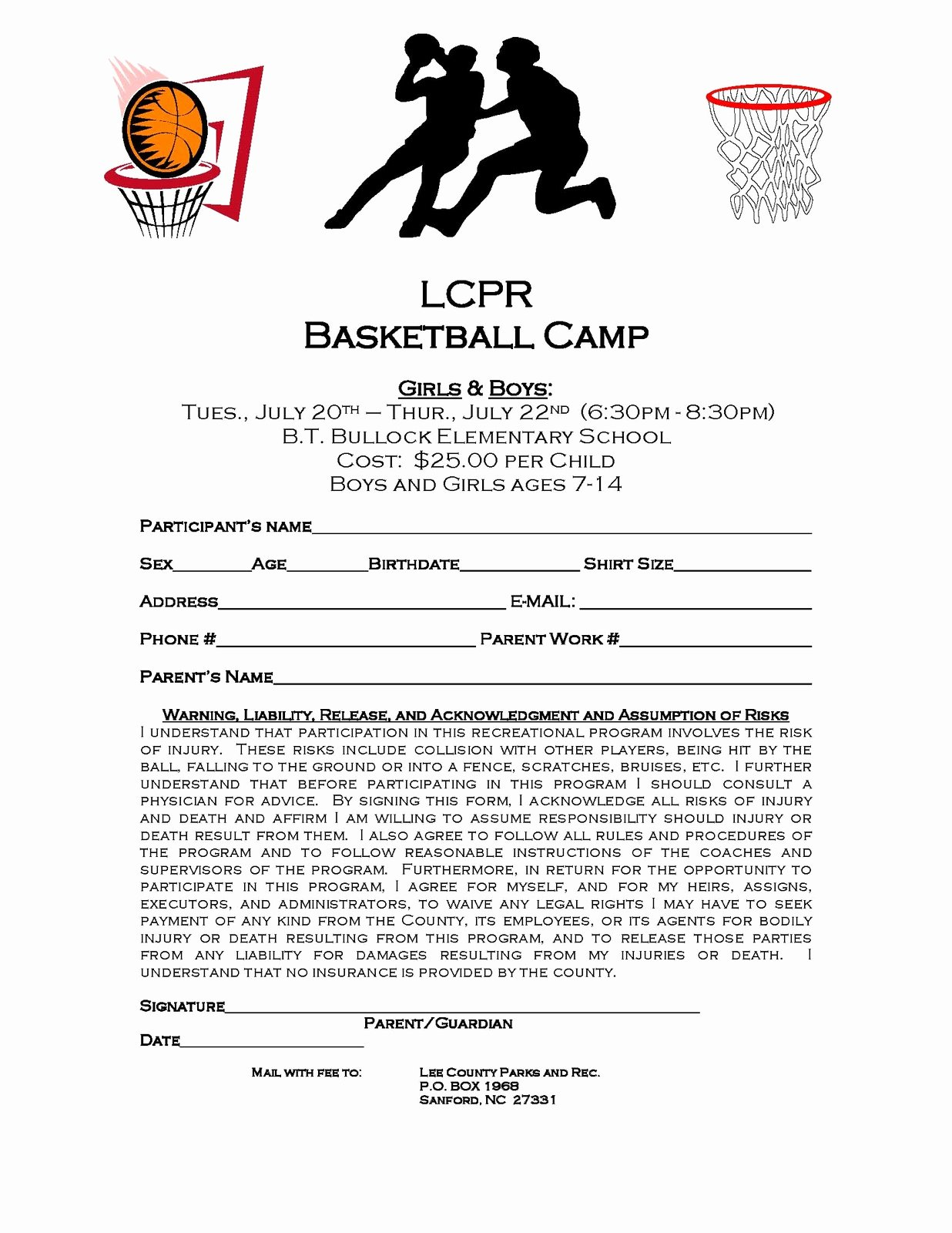 Camp Registration form Template Fresh Lee County Government Lcpr Basketball Camp