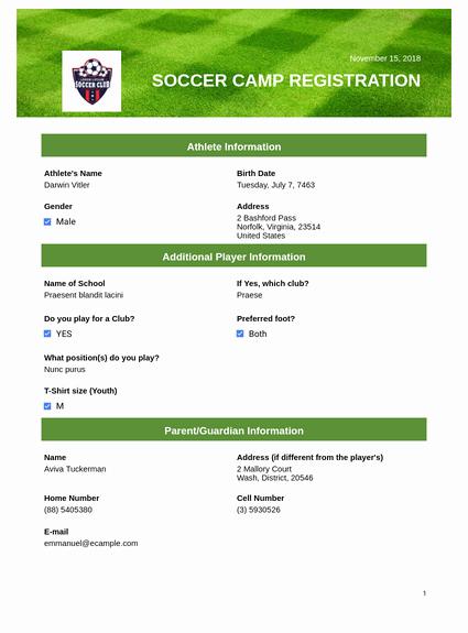 Camp Registration form Template Inspirational soccer Camp Registration Pdf Templates