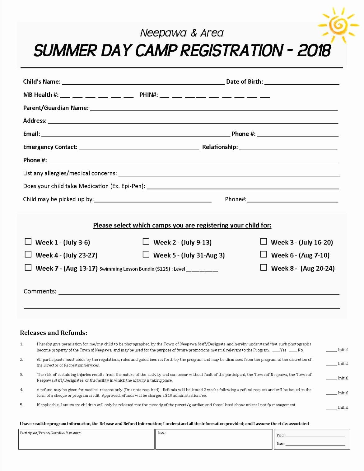 Camp Registration form Template Unique Day Camp Registration form 2018 town Of Neepawa