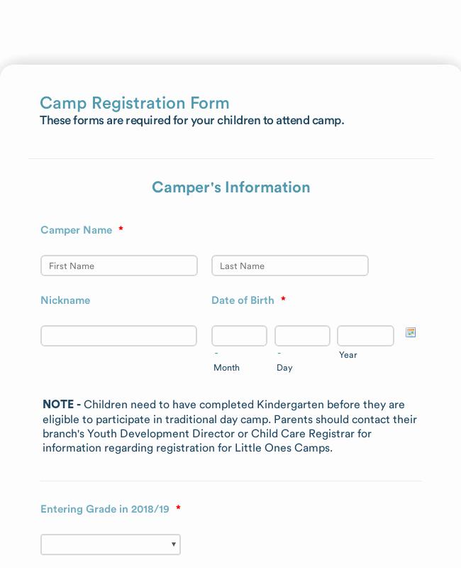 Camp Registration form Template Unique Summer Camp Detailed Registration form Template
