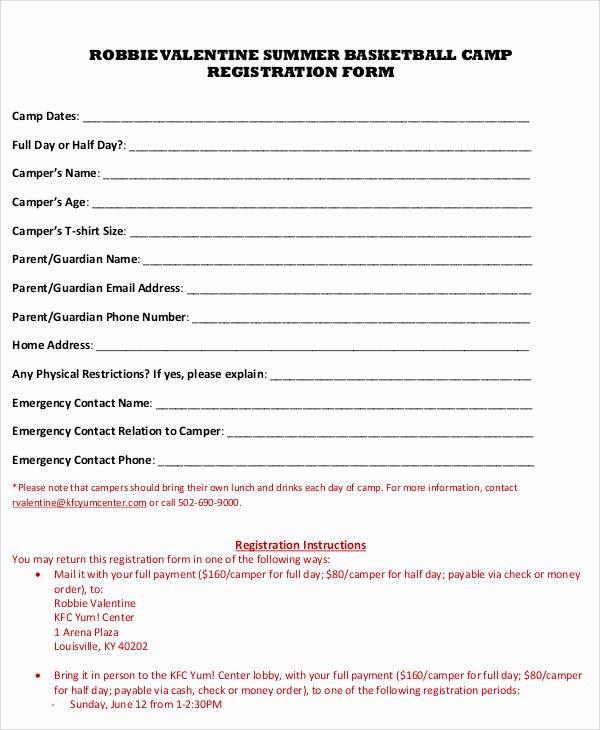 Camp Registration forms Luxury 50 Registration forms In Pdf