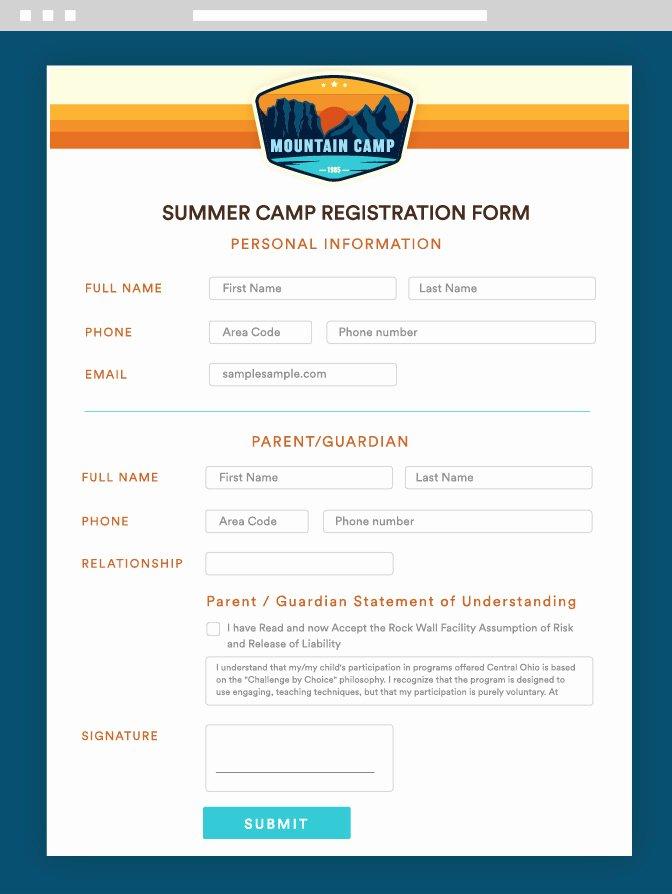 Camp Registration forms Unique Summer Camp Registration and Management forms