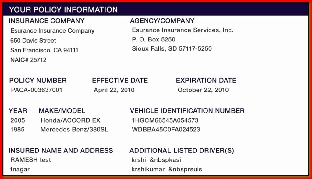 Car Insurance Card Template New Proof Auto Insurance Template Free
