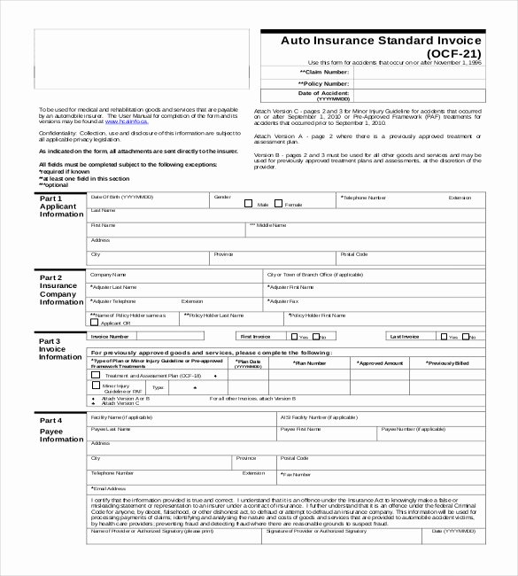 Car Insurance Template Best Of Invoice format Template 53 Free Word Pdf Documents