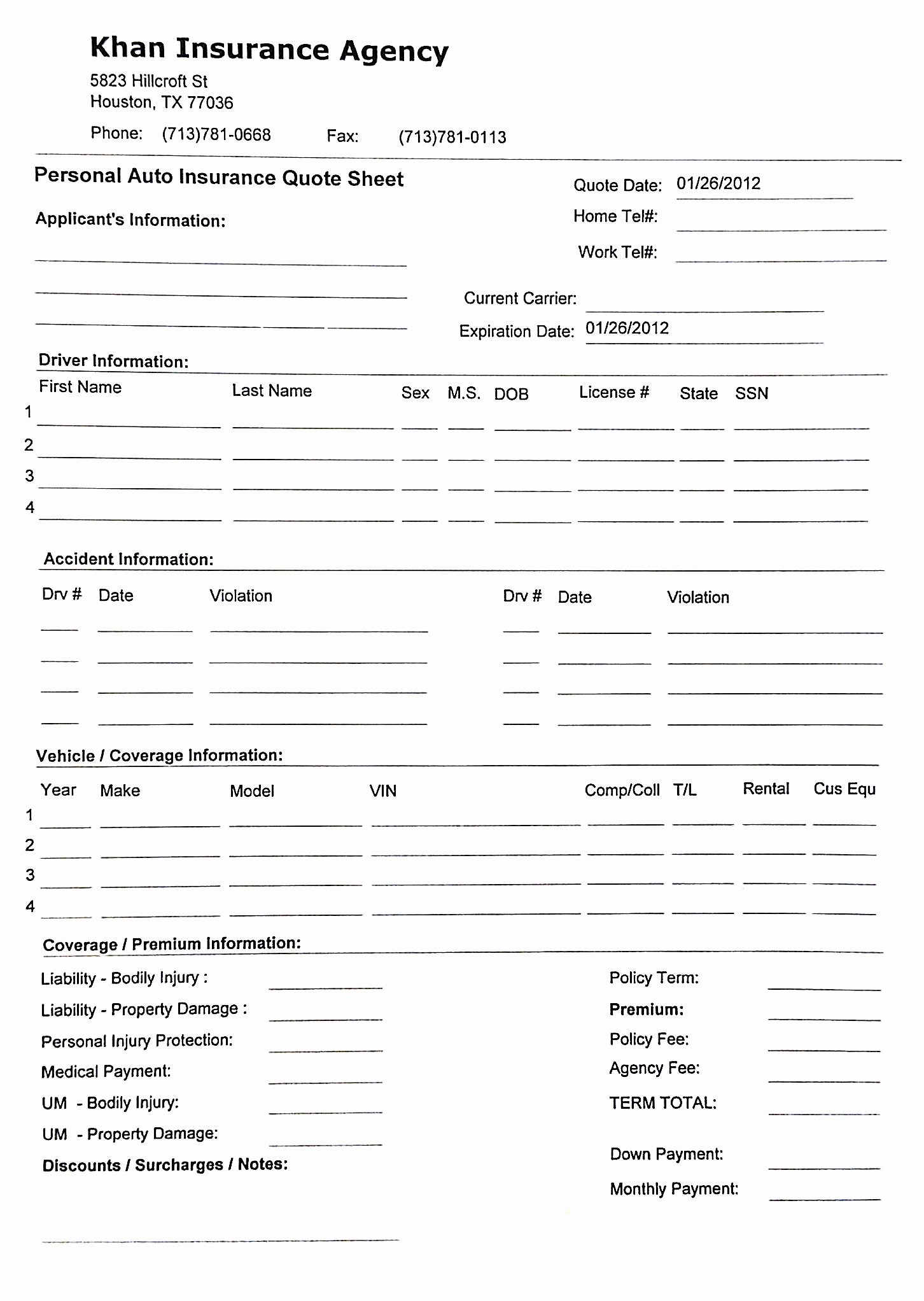 Car Insurance Templates Free New Printable Car Insurance forms