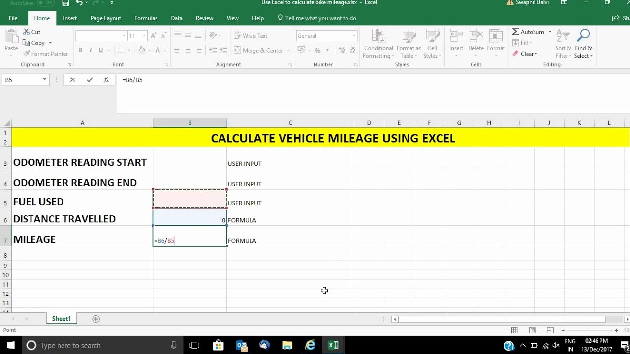 Car Mileage Chart Elegant Calculate Your Vehicle Mileage Using Microsoft Excel