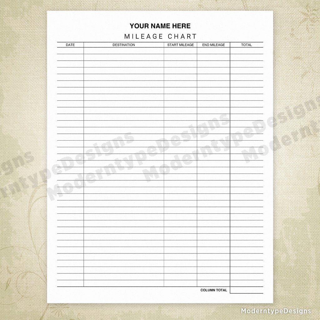 Car Mileage Chart Inspirational Car Mileage Tracker Chart Printable form Editable