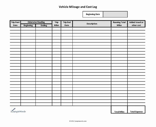 Car Mileage Chart Inspirational Vehicle Mileage Log Expense form Free Pdf Download