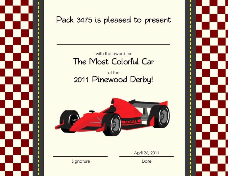 Car Show Award Certificate Template Elegant 150 Best Cub Scout Derby Pinewood Images On Pinterest