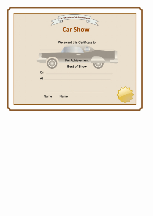 Car Show Award Certificate Template Luxury Car Show Best Show Certificate Printable Pdf