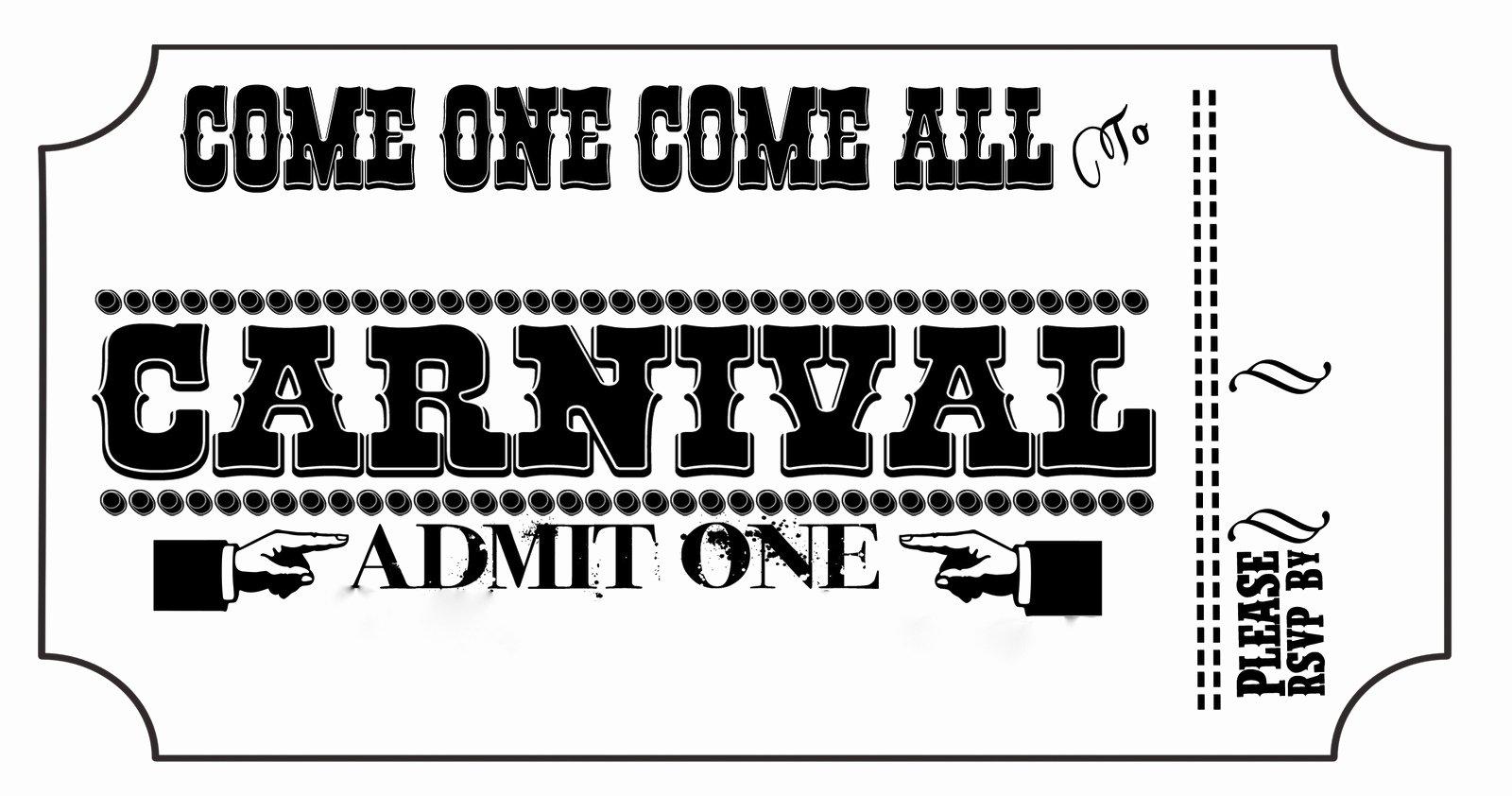 Carnival Ticket Invitation Template Free Awesome Carnival Tickets Templates Free Printable