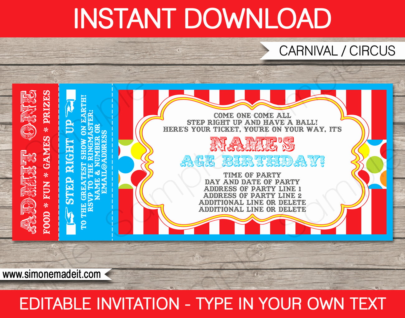 Carnival Ticket Invitation Template Free Beautiful Carnival Ticket Invitation Template