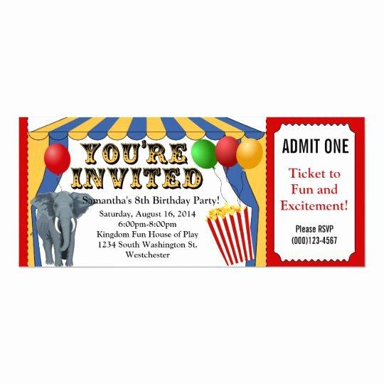 Carnival Ticket Invitation Template Free Beautiful Circus Carnival Ticket Custom Invitations