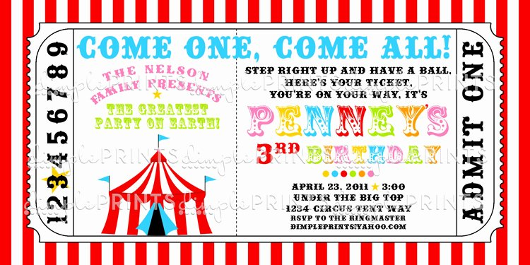 Carnival Ticket Invitation Template Free Beautiful Circus Tent Ticket Printable Invitation Dimple Prints Shop