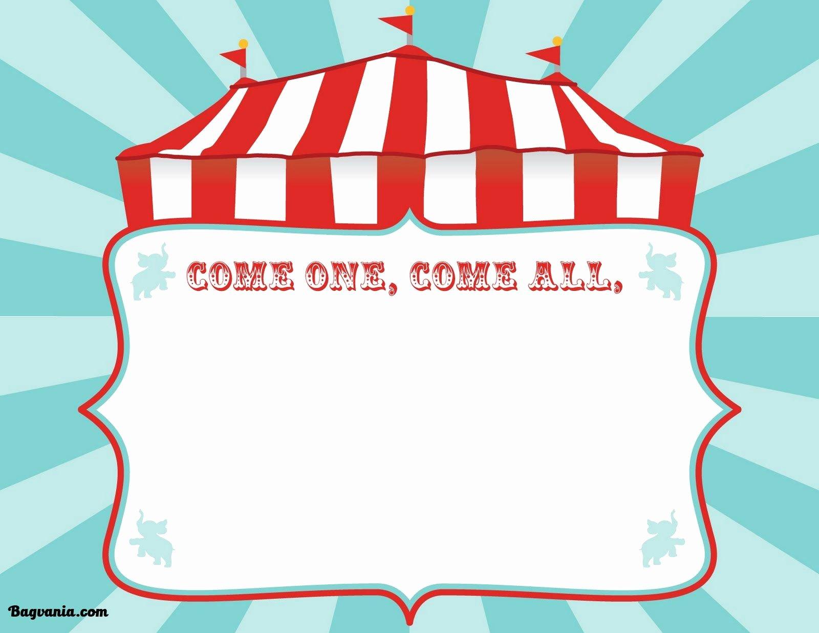Carnival Ticket Invitation Template Free Beautiful Free Printable Circus Birthday Invitations Template