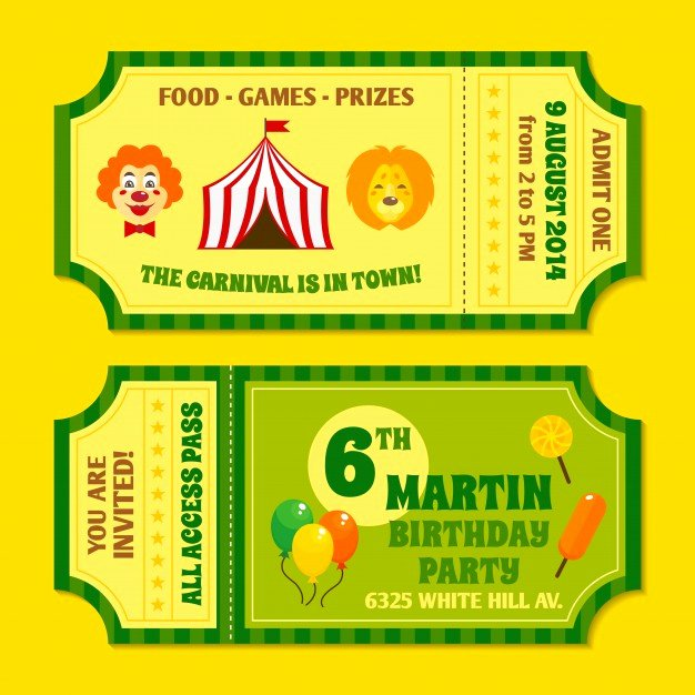 Carnival Ticket Invitation Template Free Beautiful Two Vintage Circus Carnival Birthday Party Invitation
