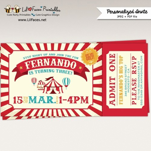 Carnival Ticket Invitation Template Free Fresh Vintage Circus Birthday Party Ticket Invitation