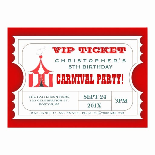"""Carnival Ticket Invitation Template Free Inspirational Circus Carnival Birthday Party Ticket Invitation 5"""" X 7"""