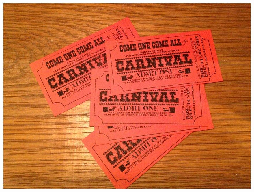 Carnival Ticket Invitation Template Free Lovely Carnival Wedding theme Diy Invitations